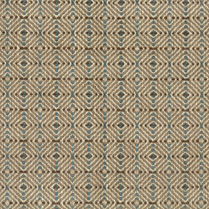 Umbria Todi Beige/Teal/Chocolate Fabric - NCF4262-06