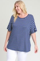 Plus Navy Stripe Top