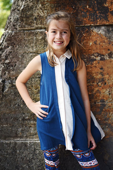 Navy Tunic with Cream