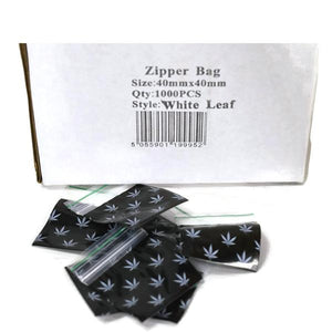 Zipper Branded 40mm x 40mm White Leaf Bags