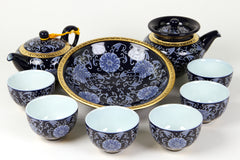 China lu yu premium tea set blue with gold