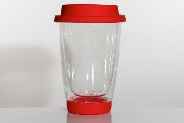 Double wall glass tea mug with red lid