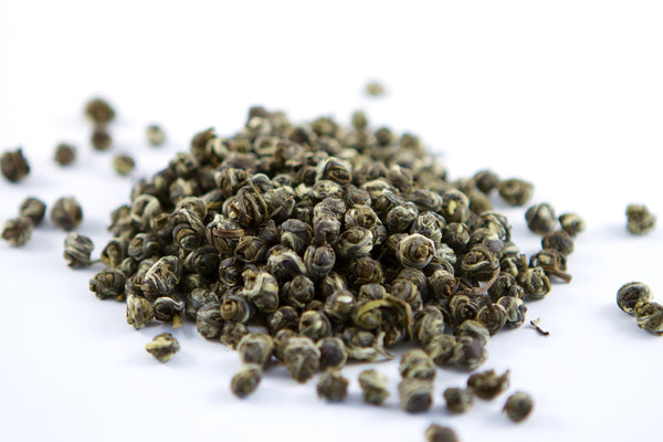Loose leaf green tea jasmine dragon pearls from fuzhou fujian china