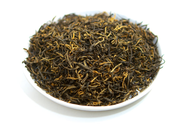 Tray of loose leaf red black tea from fujian nanhu
