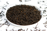Tray of loose leaf wuyi mountain black tea lapsang souchong from fujian