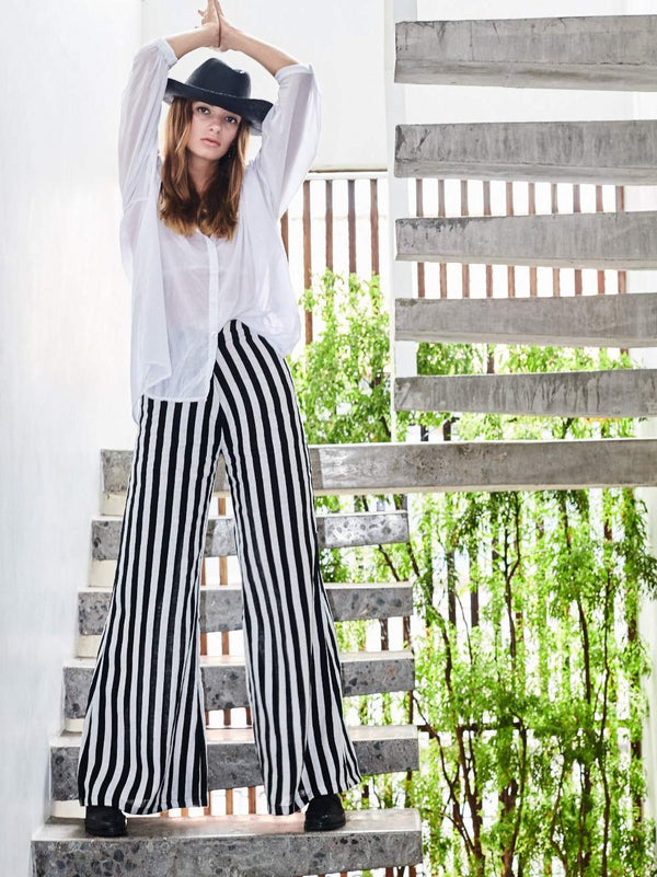 BOARDWALK LINEN PANTS JAIL BIRD STRIPE BLACK & WHITE