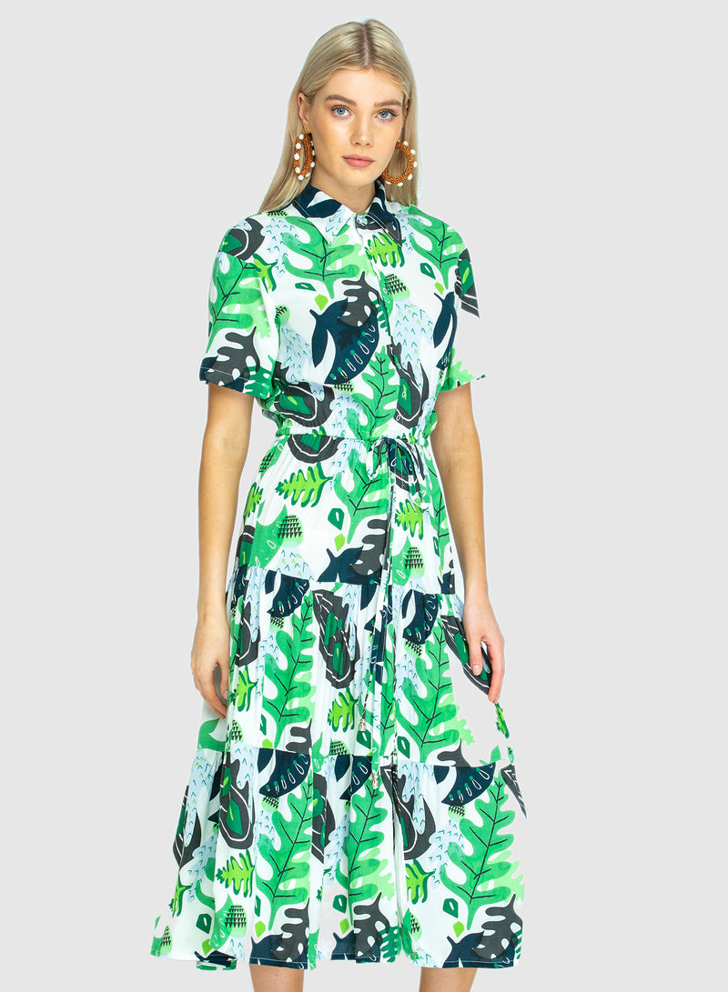 THE WALK IN THE PARK DRESS -  Cactus Green