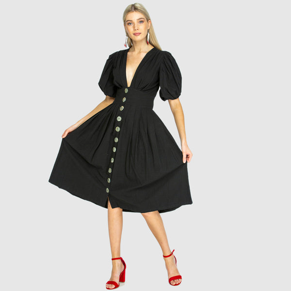 THE JAIME MIDI BUTTON UP DRESS BLACK PRE ORDER NOW