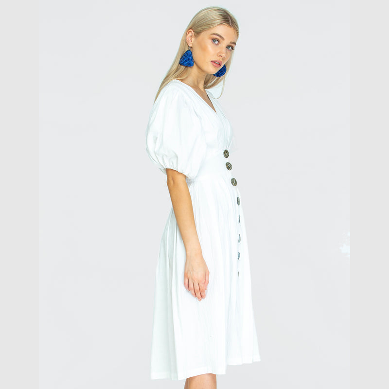 THE JAIME MIDI DRESS- Ghost white