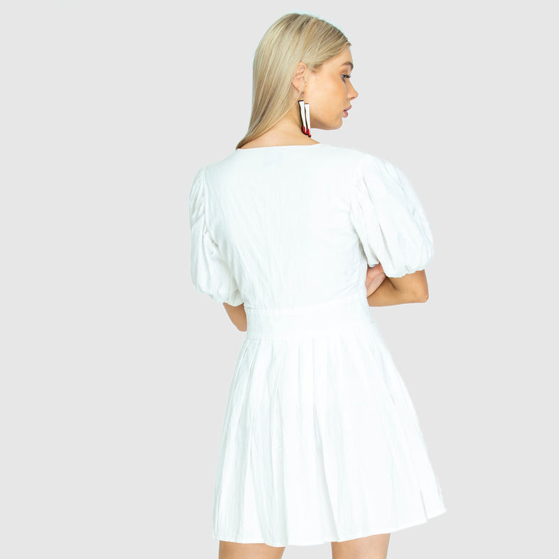 THE JAIME MINI DRESS GHOST WHITE