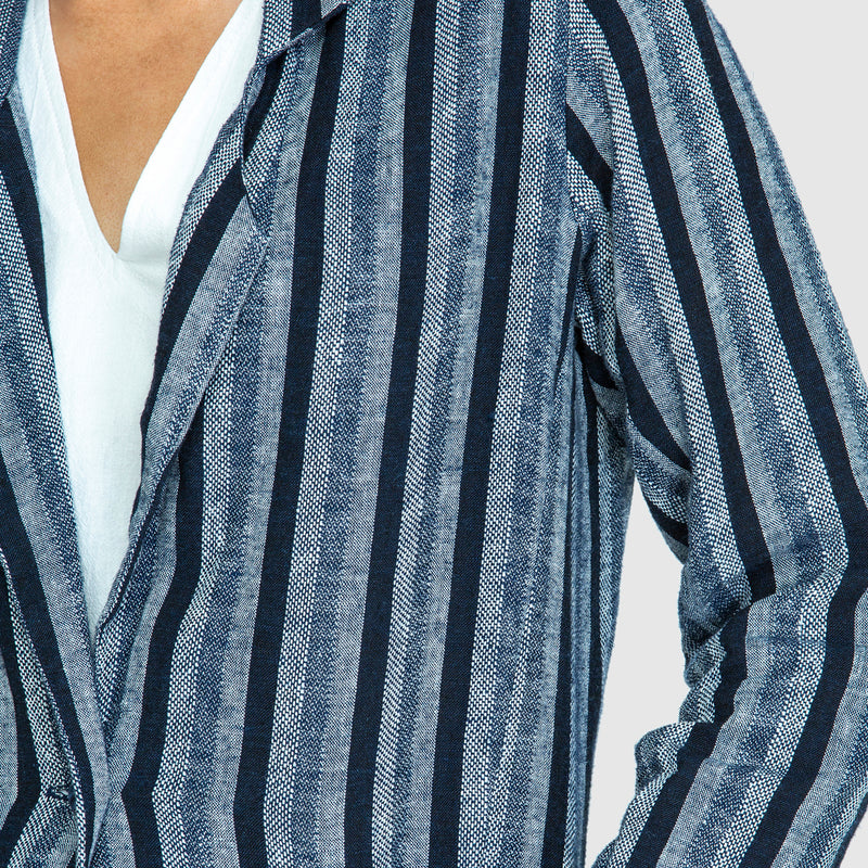 THE LINEN BLAZER - Woven Striped Blue/ White PRE-ORDER NOW