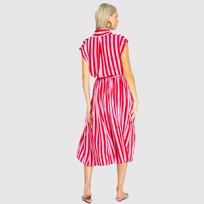 THE POINT TIE DRESS WHIPPY PINK