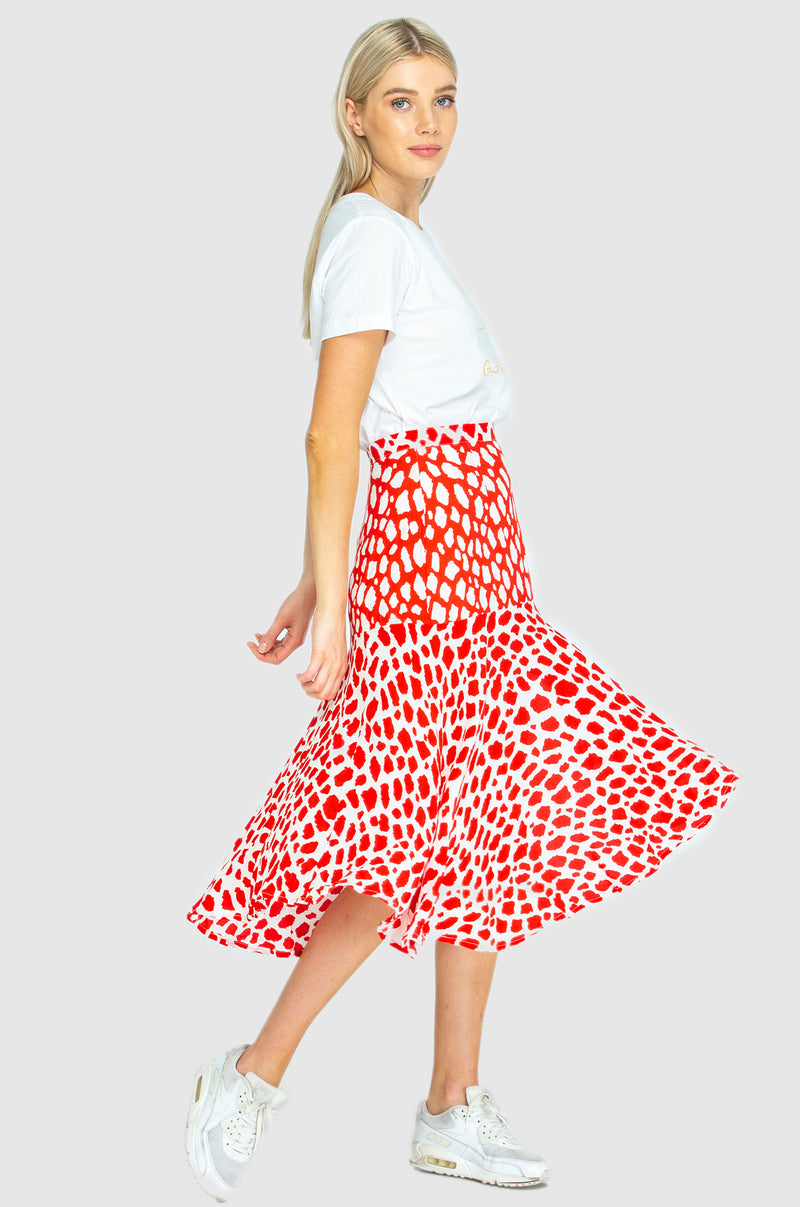 PARIS SKIRT - Giraffe red/white