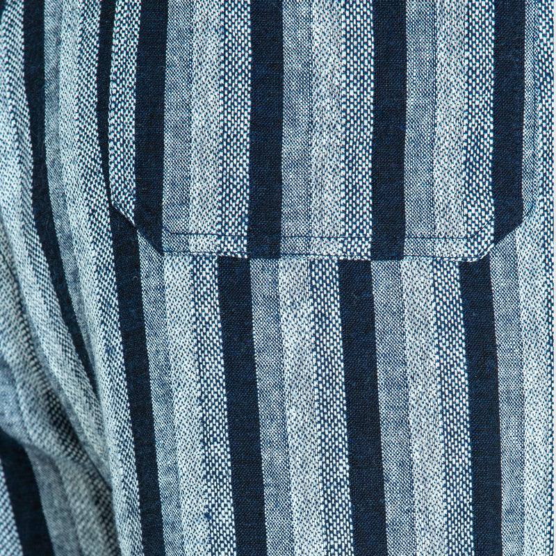THE SLIDE PANTS IN WOVEN MIDNIGHT STRIPE MADE TO ORDER