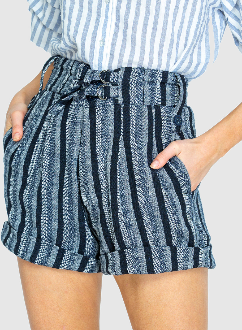 THE SLIDE SHORT  in Woven Linen Blue Stripe PRE-ORDER NOW