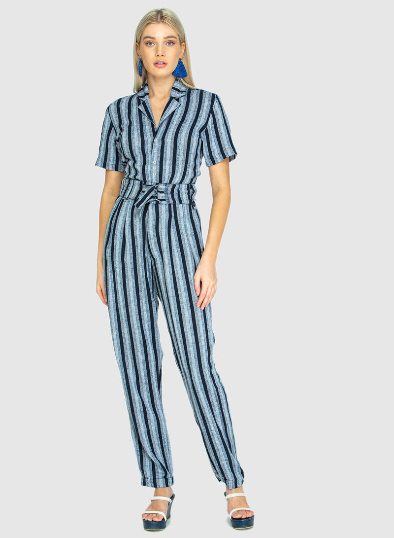 THE SLIDE JUMPSUIT WOVEN MIDNIGHT - MADE TO ORDER