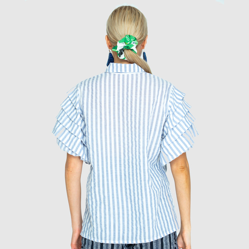 THE ROSE SLEEVE SHIRT IN WOVEN BLUE/WHITE STRIPE