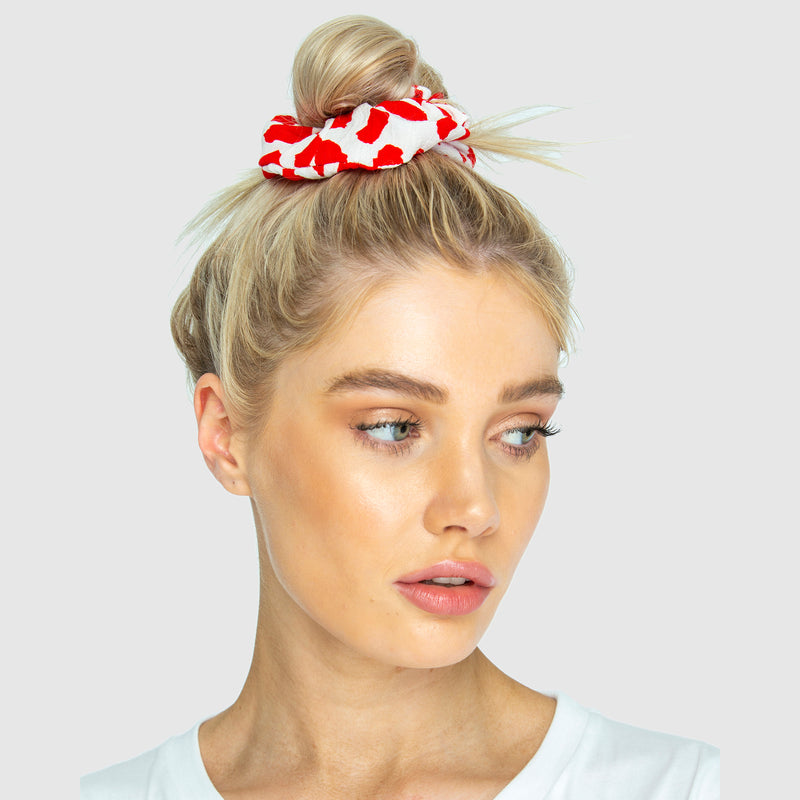 SCRUNCHIES - Giraffe Red/White