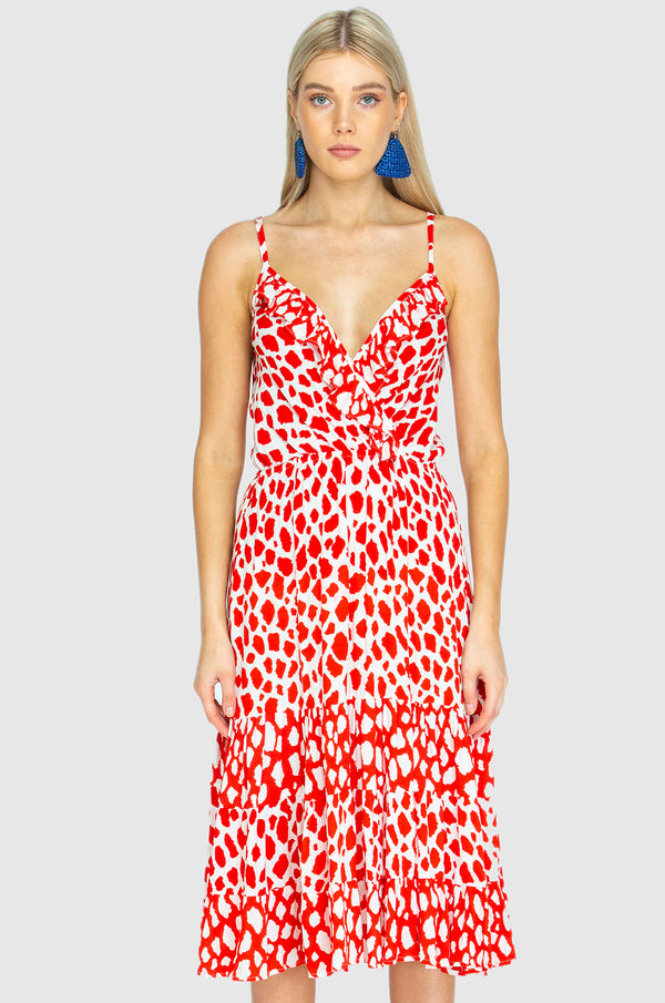 GEORGIA ORIGINAL BEACH DRESS - Giraffe Red White mix