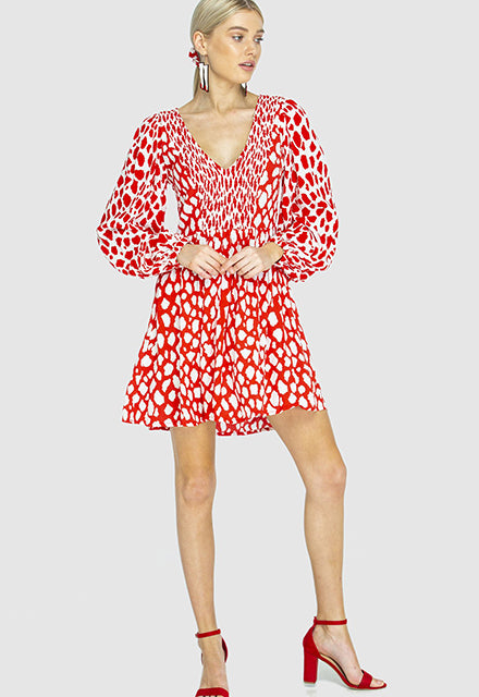 SWING DRESS - Giraffe Red /White