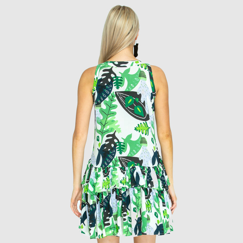 THE RARA FRILL Dress - Cactus Green