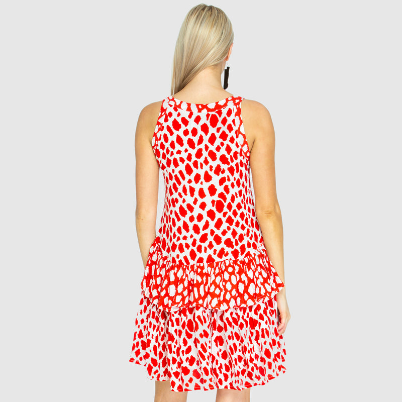 RARA FRILL DRESS - Giraffe Red/White