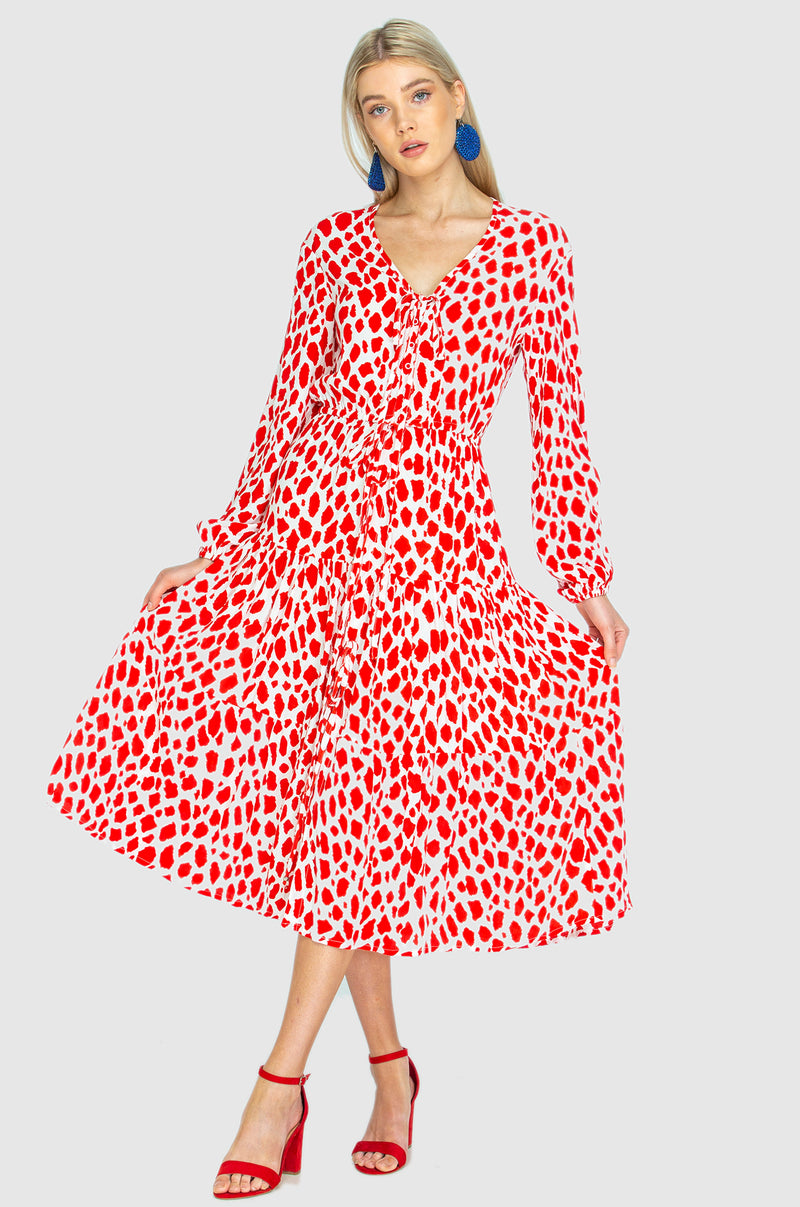 PARACHUTE DRESS - Giraffe red / white