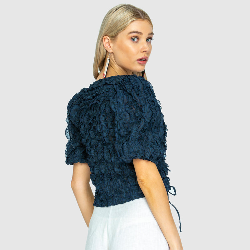 POSIE TIE TOP - Navy Blue