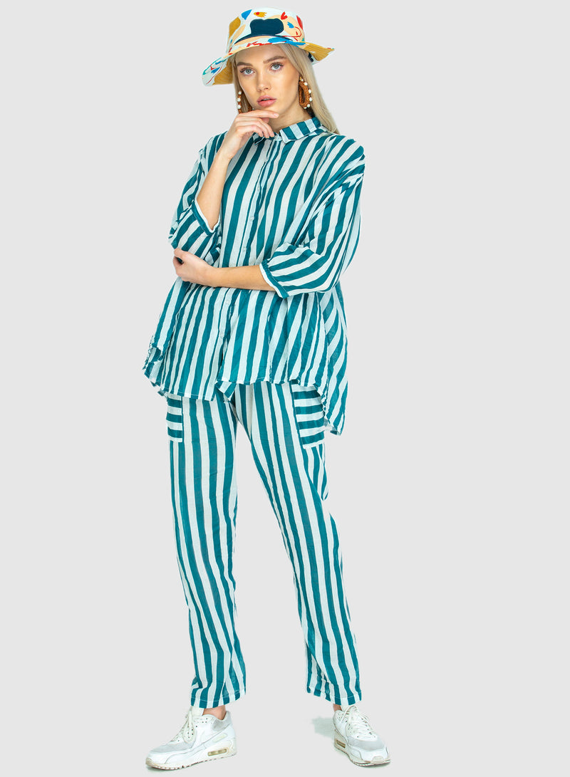 PRE ORDER NOW! THE DRAWSTRING PANTS TEAL STRIPE