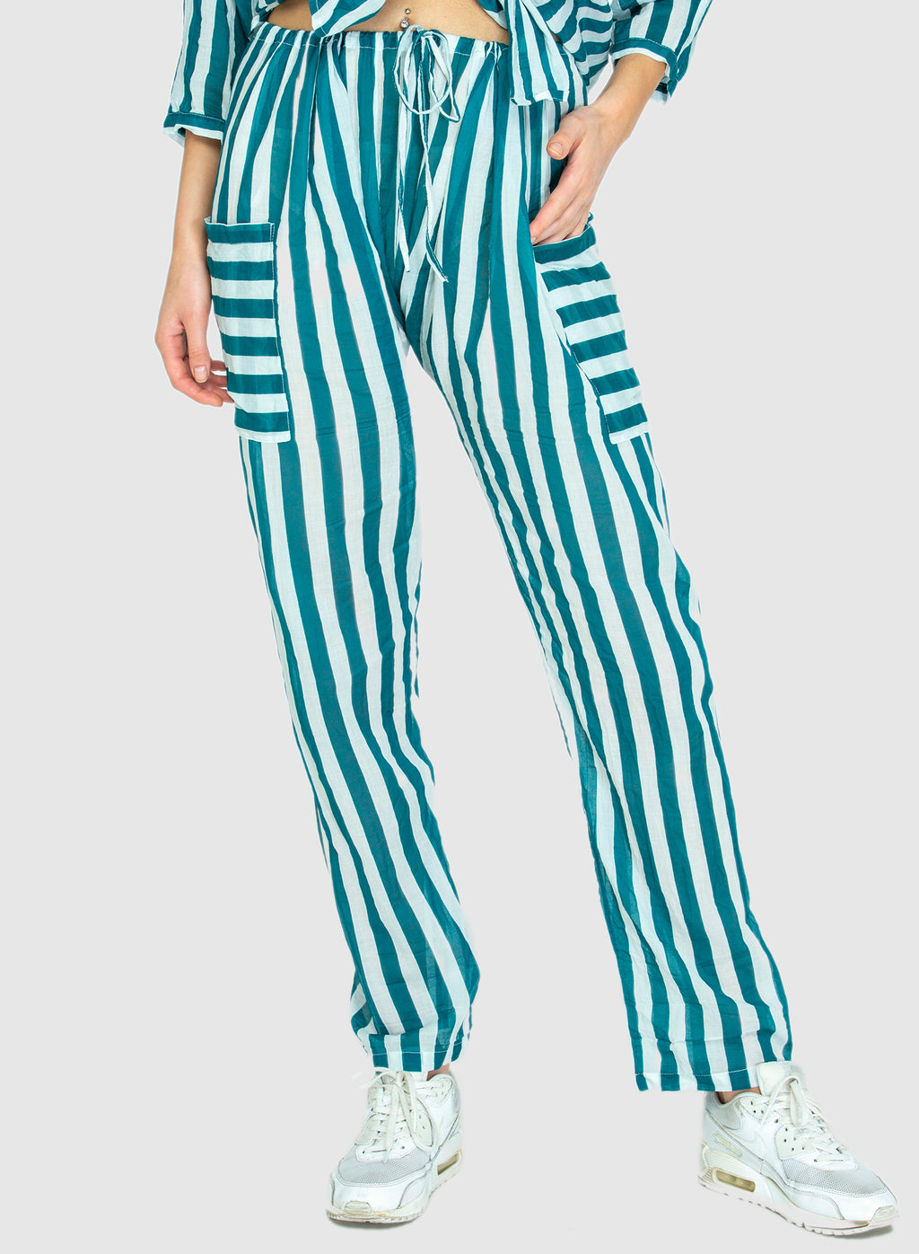 THE DRAWSTRING PANTS- Whippy Stripe Teal/White
