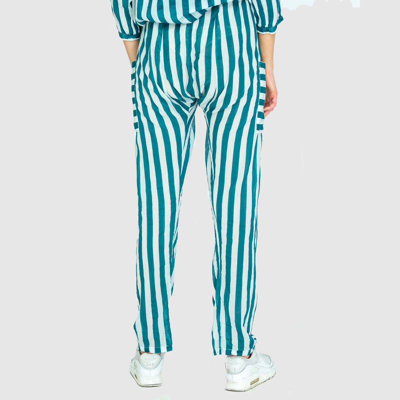 THE DRAWSTRING PANTS TEAL STRIPE