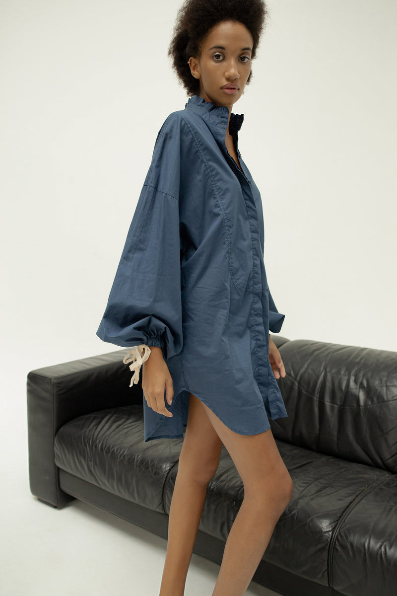 THE TUXEDO SHIRT/DRESS - NAVY BLUE