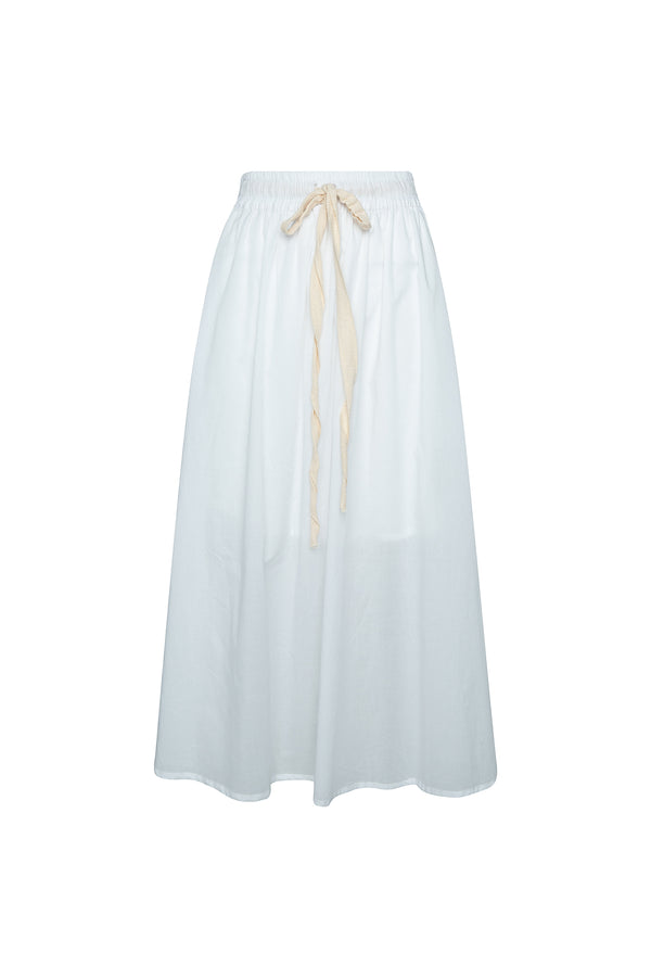 THE TULIE DRAWSTRING SKIRT - GHOST WHITE