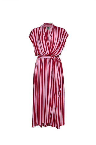 THE POINT TIE DRESS - Whippy Stripe Red/Pink
