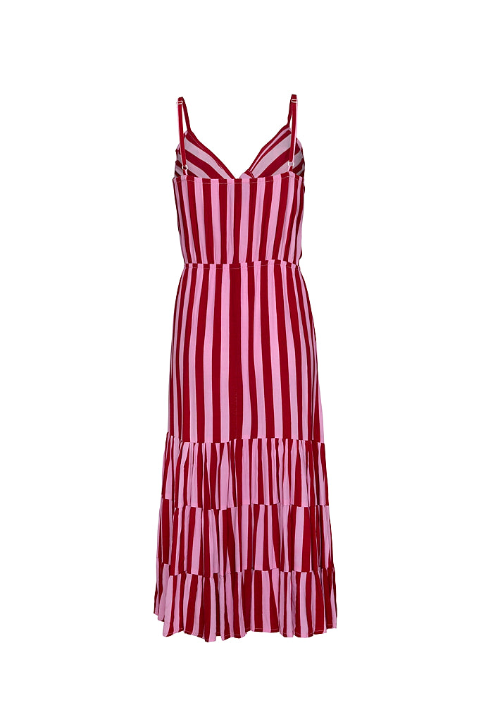 GEORGIA ORIGINAL BEACH DRESS - WHIPPY STRIPE RED/PINK