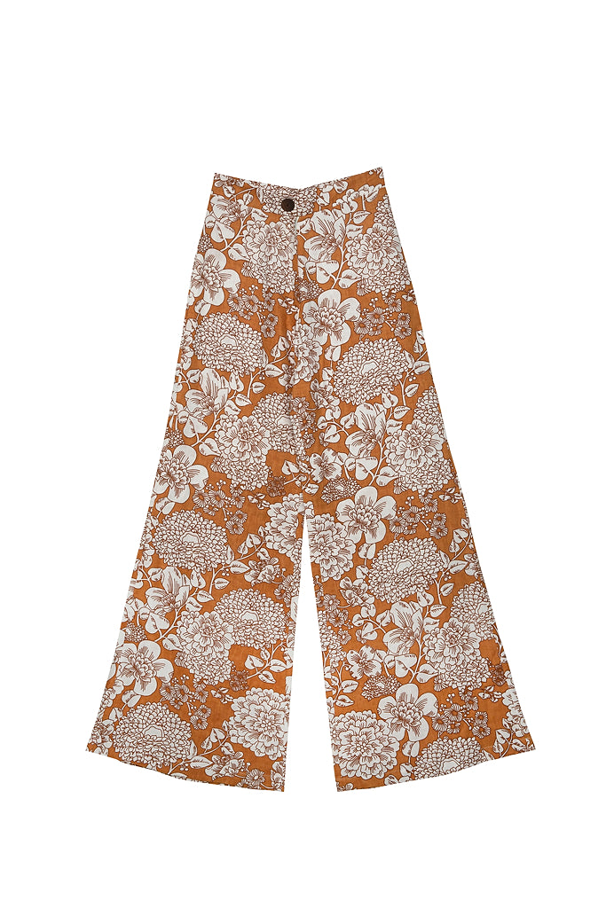 BOARDWALK LINEN PANT - Wallpaper Floral Almond