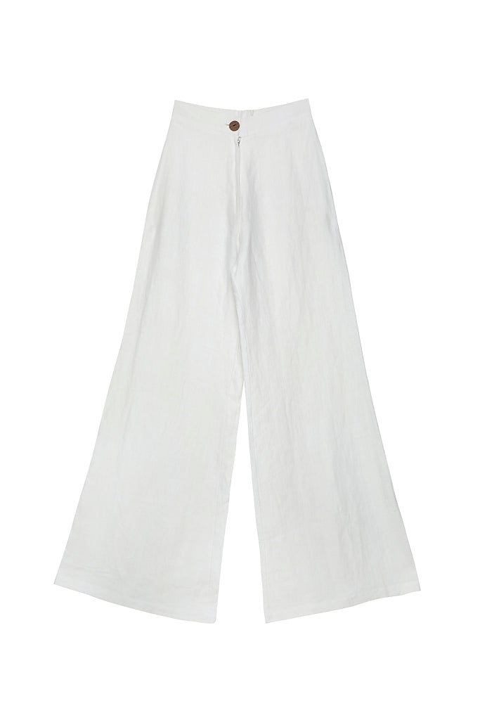 BOARDWALK LINEN PANT - Ghost White