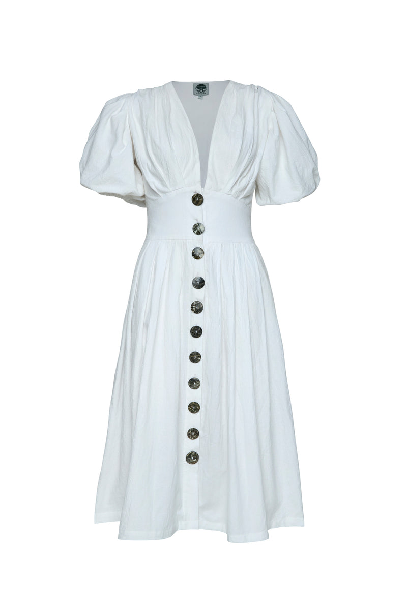 THE JAIME MIDI BUTTON UP DRESS WHITE  PRE - ORDER