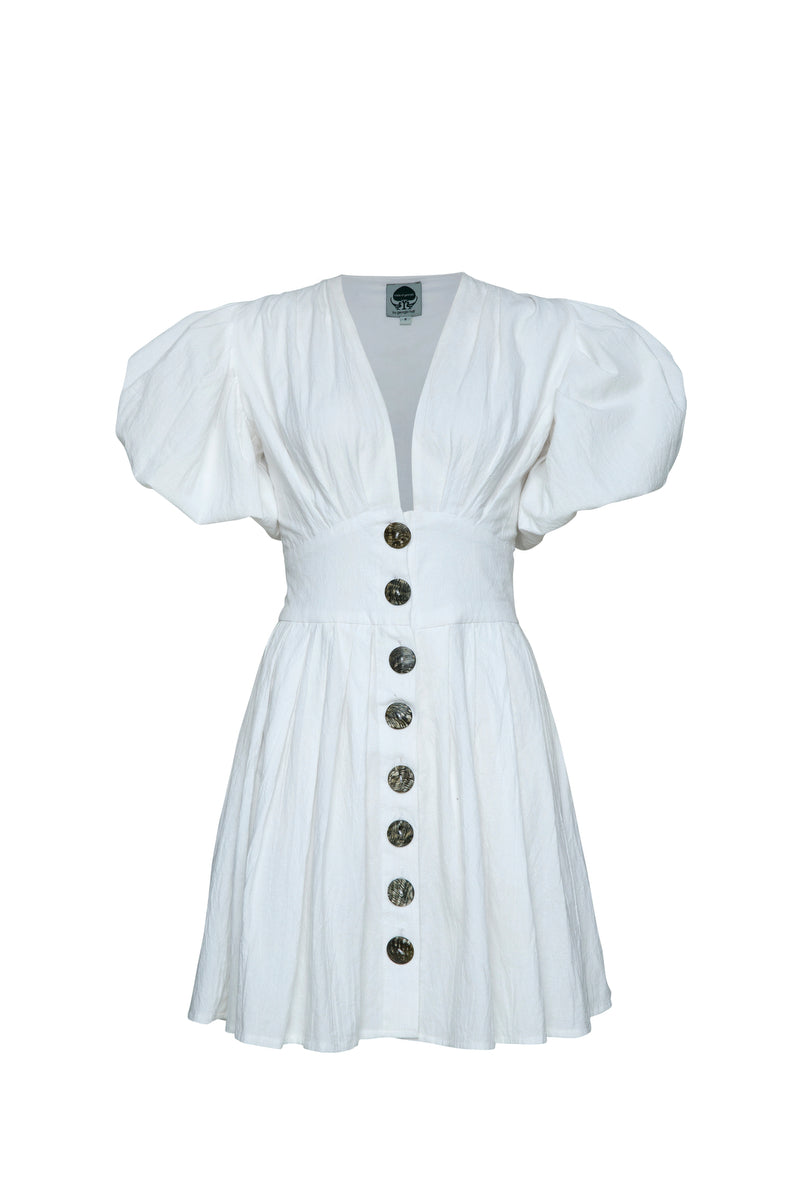 THE JAIME MINI BUTTON UP DRESS WHITE