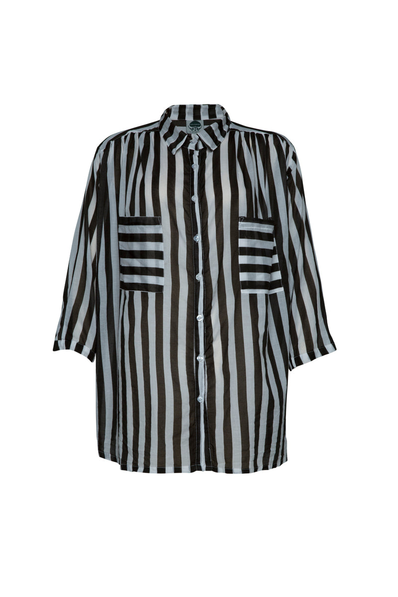 THE CISCO COTTON DREAM SHIRT IN JAILBIRD BLK/WHITE