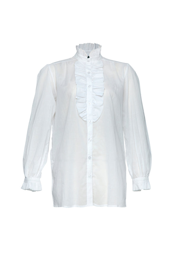 THE LEONARD RUFFLE SHIRT WHITE