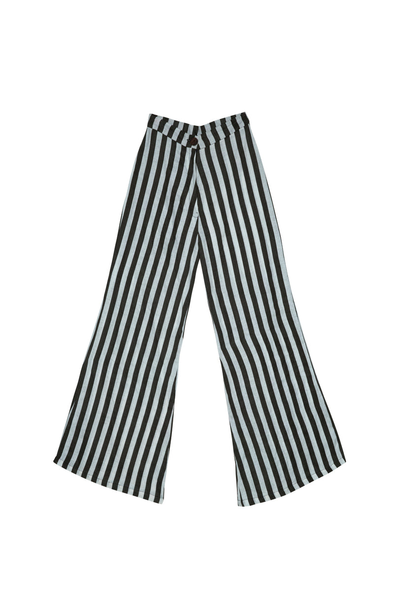 BOARDWALK LINEN PANTS JAIL BIRD STRIPE BLACK/ WHITE