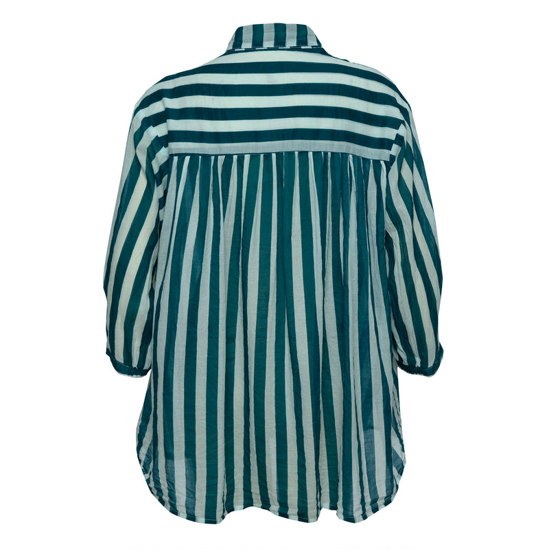 THE CISCO DREAM SHIRT - Whippy Stripe Teal/White