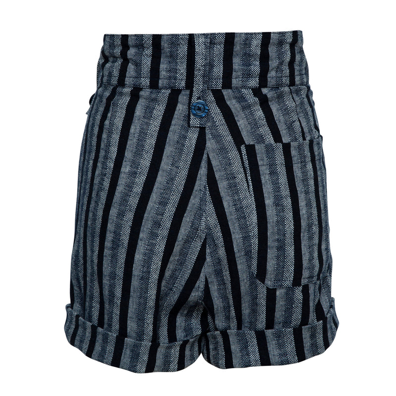 THE SLIDE SHORT  in Woven Linen Blue Stripe MADE TO ORDER