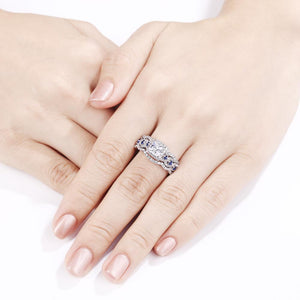 Wedding Ring set in Solid Sterling Silver - El Sanar
