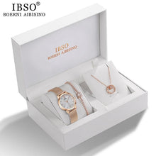 Load image into Gallery viewer, Rose Gold Crystal Design Watch Necklace Bracelet Set - El Sanar