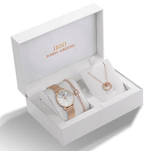 Rose Gold Crystal Design Watch Necklace Bracelet Set - El Sanar