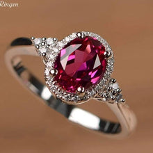 Load image into Gallery viewer, Lab ruby ring oval cut, 925 Sterling Silver - El Sanar
