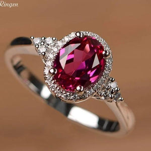 Lab ruby ring oval cut, 925 Sterling Silver - El Sanar