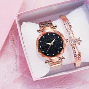 Ladies Mesh Watch & Rose Tone Bracelet set - El Sanar